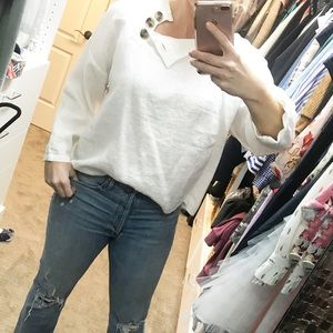 Zara white linen blouse, button neck,  size L NWT